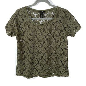 H&M Forest Green Lace Short Sleeve Blouse Size S